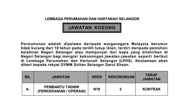 Jawatan Kosong di Lembaga Perumahan dan Hartanah Selangor (LPHS)