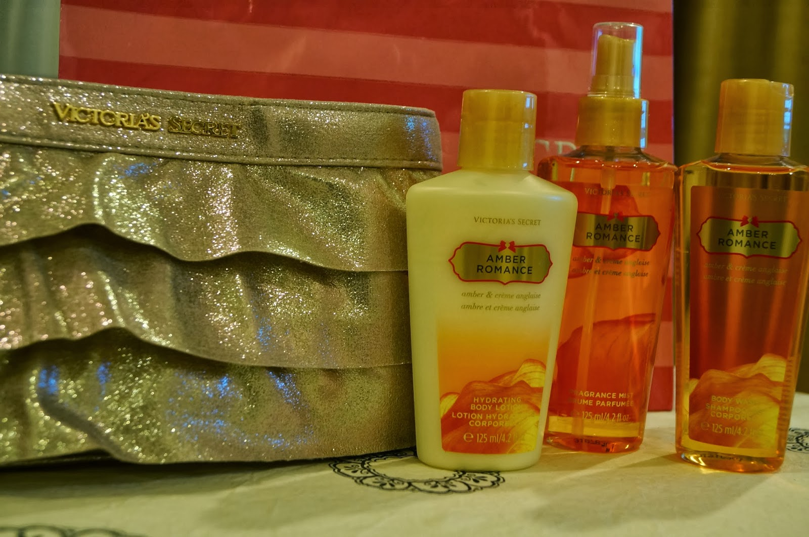 4923ac64e74 FREE  CLUTCH MARKDOWN PRICE  RM85. Ready In Stock Victoria Secret Amber  Romance Gift Set - Hyde rating Body Lotion 125ml - Body mist 125ml - Body  wash 125ml
