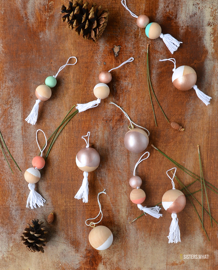 color blocked christmas ornaments