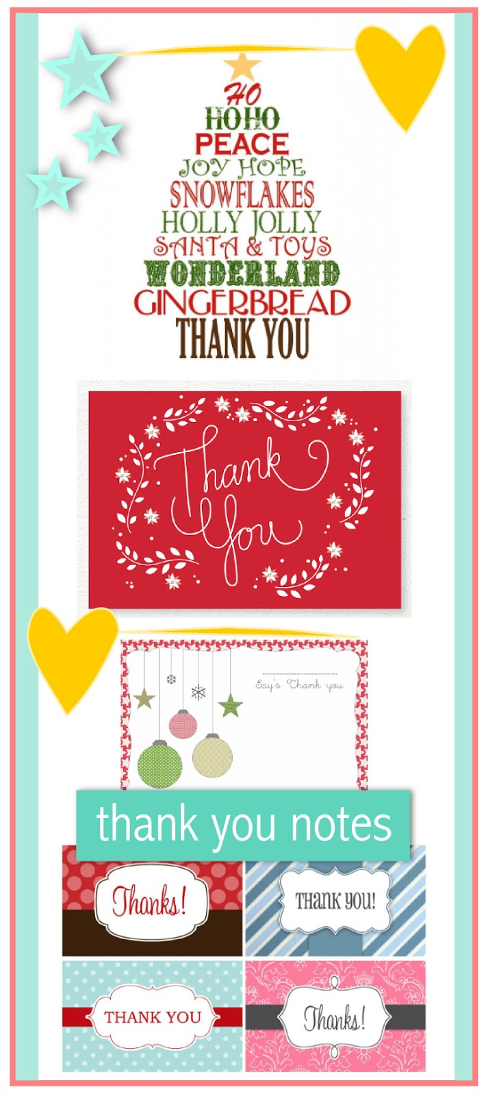 10 free printable Christmas thank you notes