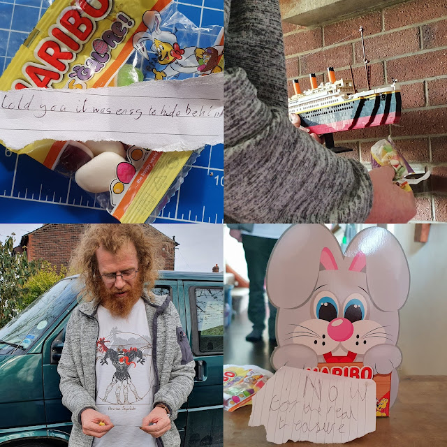 HARIBO Easter egg hunting in the house lockdown collage of clues and sweets