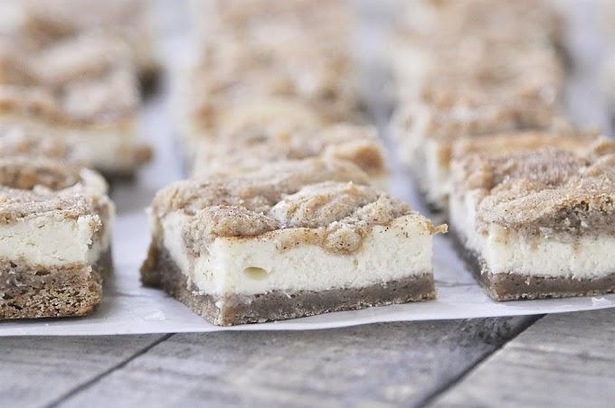 Cheesecake Snickerdoodle Blondies #desserts #cakerecipe