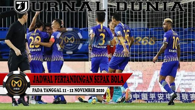 Jadwal Pertandingan Sepakbola Hari Ini, Rabu Tgl 11 - 12 November 2020