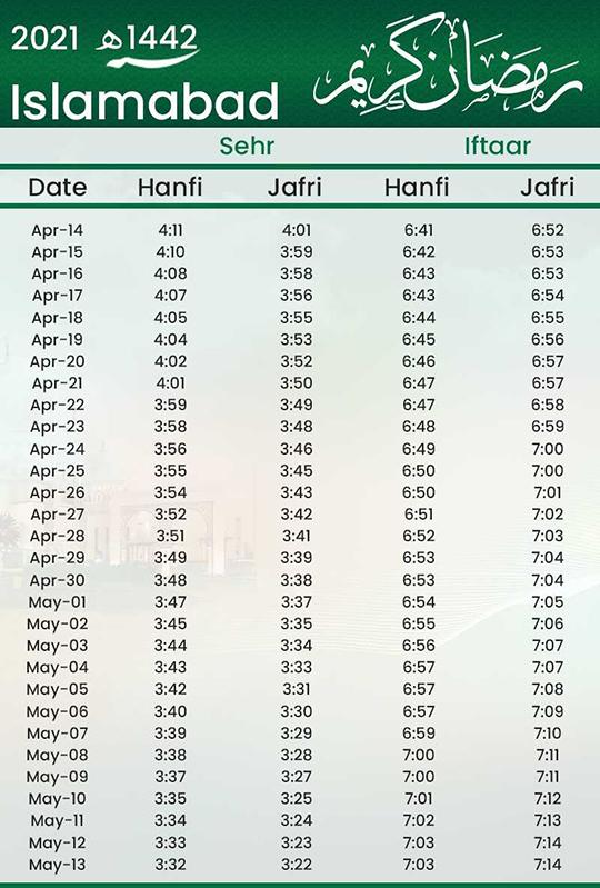 Ramadan calendar | Ramadan timetable Pakistan 2021