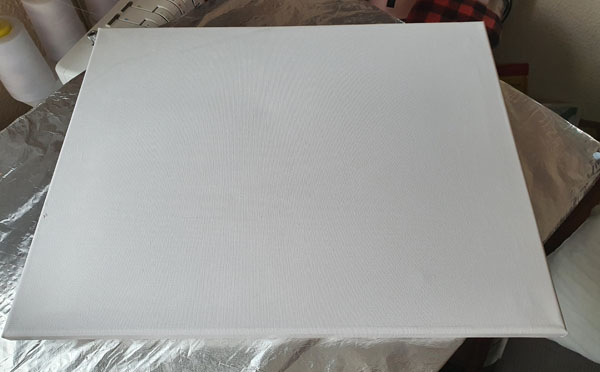Plain Canvas which can be purchased from Wilko
