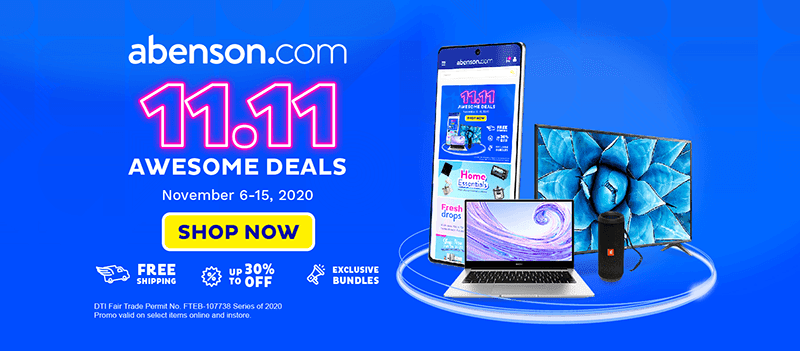 Abenson offers 11. 11 Awesome Deals online and all of its stores nationwide!
