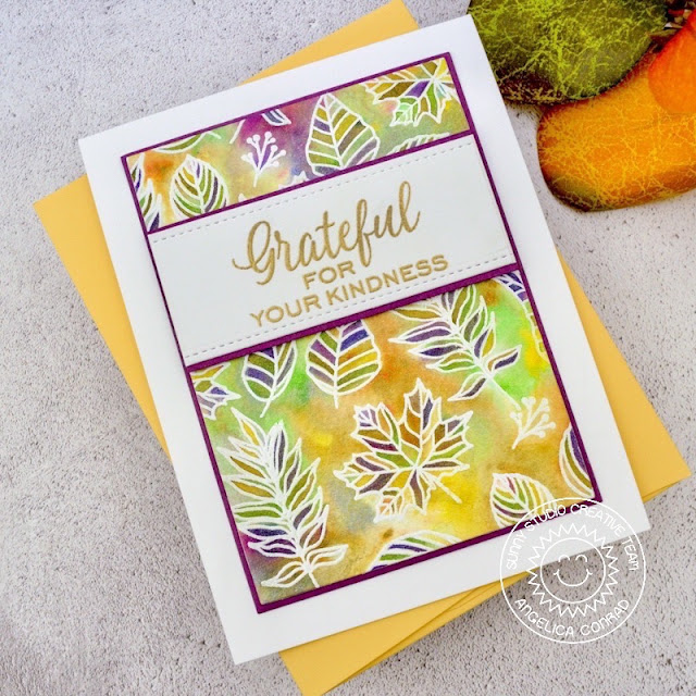 Sunny Studio Stamps: Elegant Leaves Frilly Frame Dies Fall Themed Grateful For You Card by Angelica Conrad