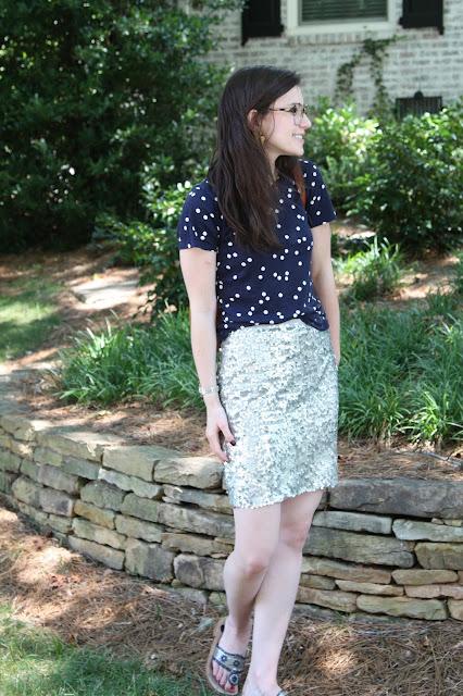2017, summer, OOTD, sequins, polka dots, J.Crew,