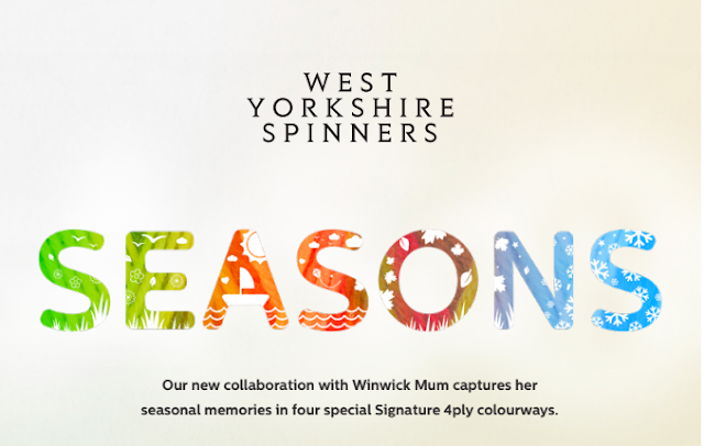 "A promotional photo - the words ""West Yorkshire Spinners"" are at the top, in the middle is the word ""Seasons"" in rainbow colours from green to blue with seasonal pictures inside the letters.  At the bottom, the wording reads ""Our new collaboration with Winwick Mum captures her seasonal memories in four special Signature 4ply colourways""."