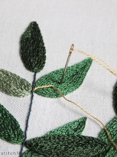 hand embroidery leaves