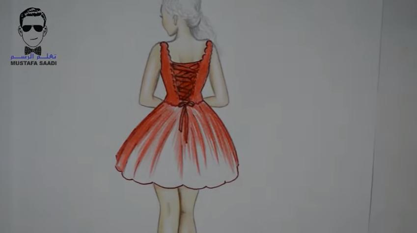 506d20a07 10- نبدأ في مرحلة تلوين الفستان بلون موحد مع ترك فرغات والتي تمثل الانعكاس  الضوئي.