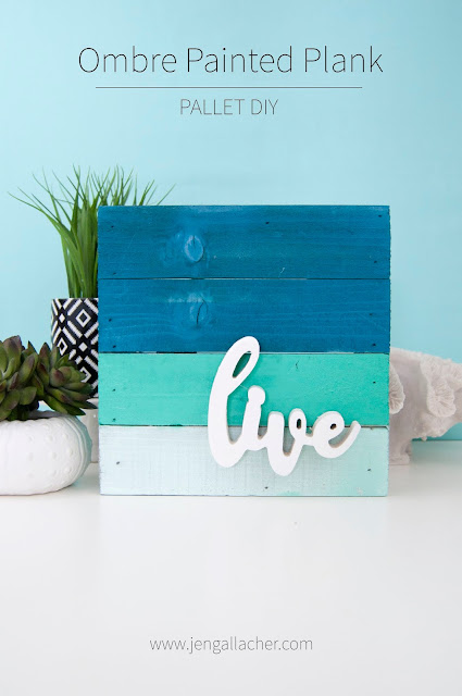 Blue ombred spray painted plank or pallet sign perfect for beach or nautical decor. By Jen Gallacher for www.jengallacher.com. #jengallacher #palletsign #planksign #beachsign #nauticaldecor #spraypaint #jillibeansoup