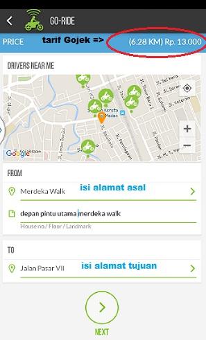 Tarif Gojek Medan, ongkos gojek medan, tarif ojek medan