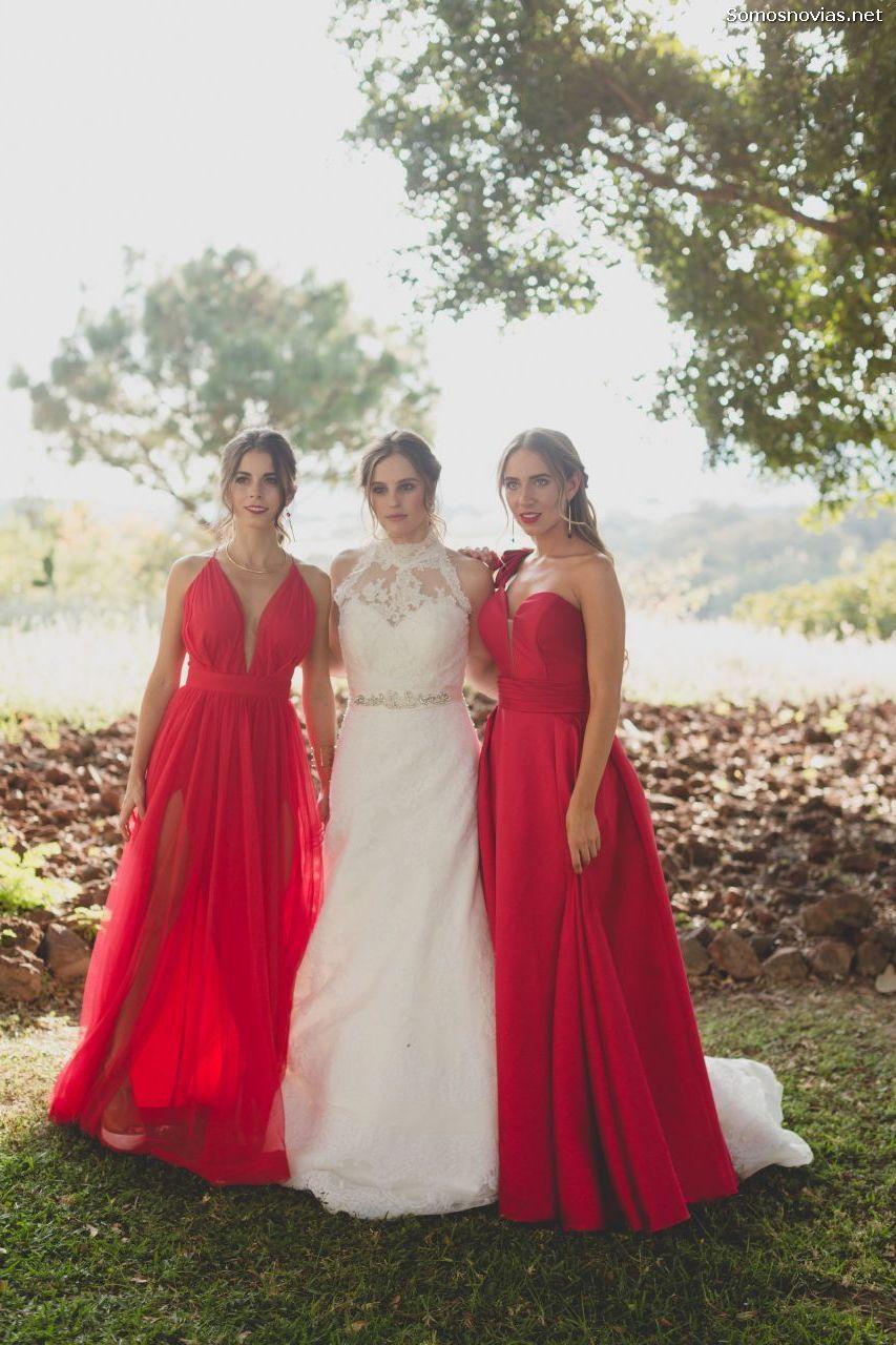 Vestidos De Damas De Honor Rojo Fantásticas Ideas De Moda