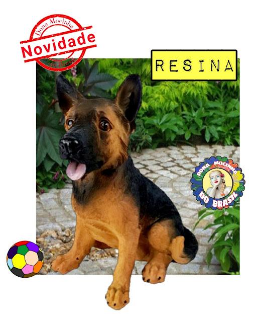 FILHOTE PASTOR ALEMÃO DE RESINA