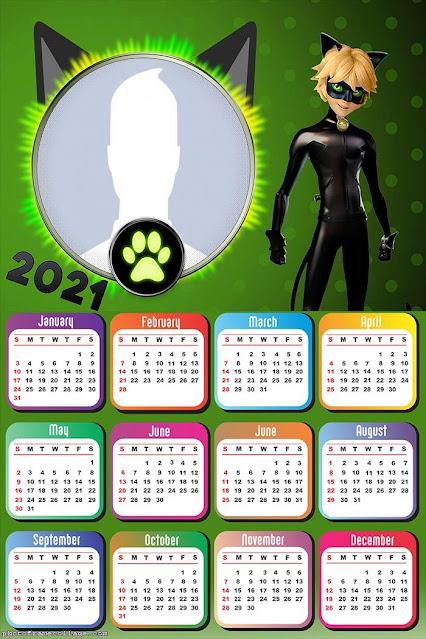 Cat Noir: Free Printable 2021 Calendar.