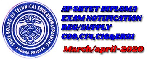 AP SBTET  DIPLOMA EXAMINATIONS MARCH/APRIL-2020