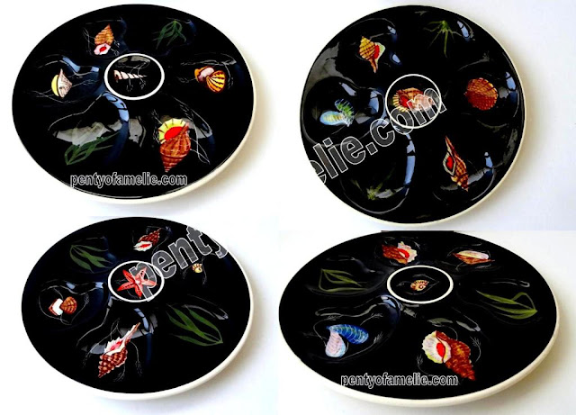 Eclectic Quimper Henriot Pottery oyster plates with seashell shellfish on Black background
