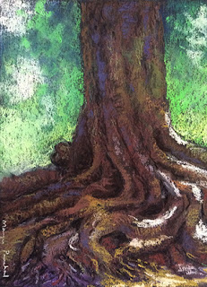 Soft pastel painting of a tree trunk in shadow by Manju Panchal