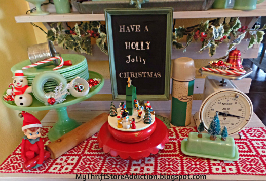 A Holly Jolly Jadeite Kitchen mythriftstoreaddiction.blogspot.com Whimsical Christmas decor in the kitchen featuring jadeite collection and vintage thrift store finds