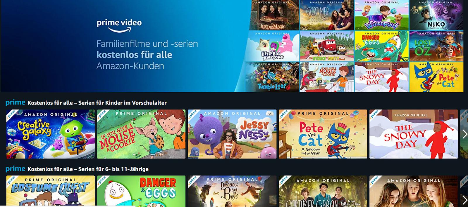 Kostenlose Familienfilme und -serien für alle Amazon Kunden   Ausgewählte Amazon Prime Video gratis streamen