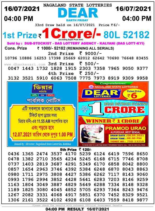lottery sambad 16 7 2021 day 4pm