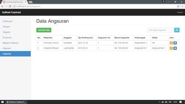 Data Angsuran Pinjaman di Aplikasi Koperasi (Pengelolaan Data : Tampil, Tambah, Edit, Cari, Detail)
