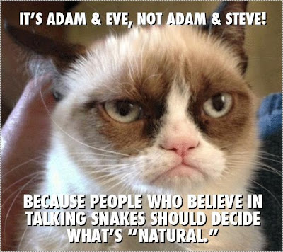 adam and eve - grumpy cat