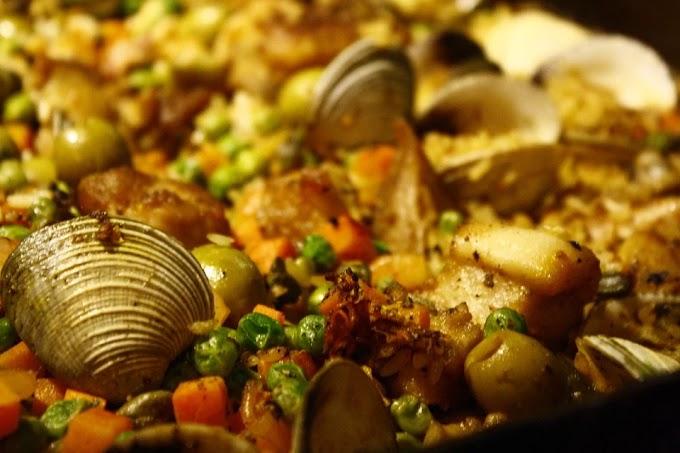 Arroz con almejas y calamar (recetas Keto)