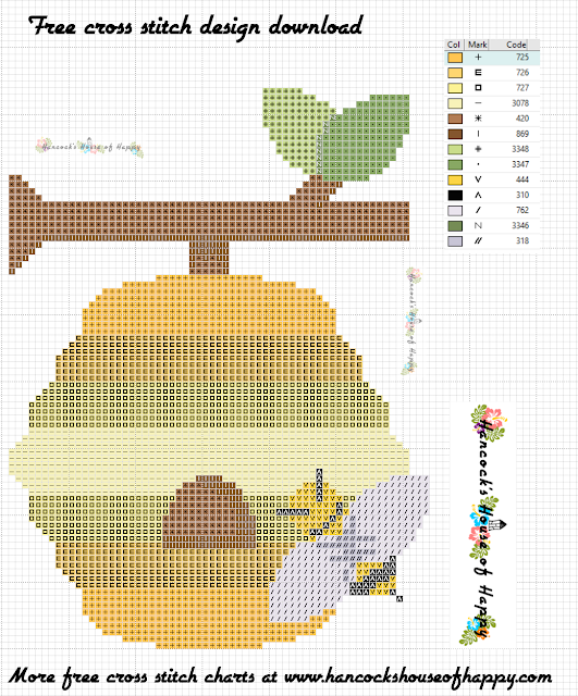 Fall Fair Week! Free and Easy Beginner Friendly Cross Stitch Design of A Bee and Bee Hive to Download