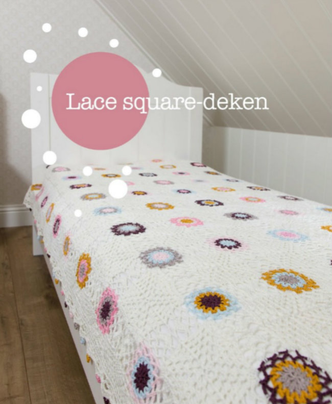Lace square blanket. Haakspiratie, Jip by Jan | Happy in Red