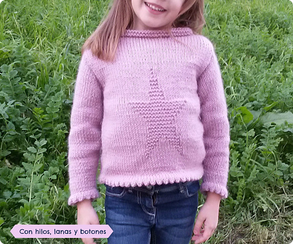 Con hilos, lanas y botones: jersey de punto con estrella