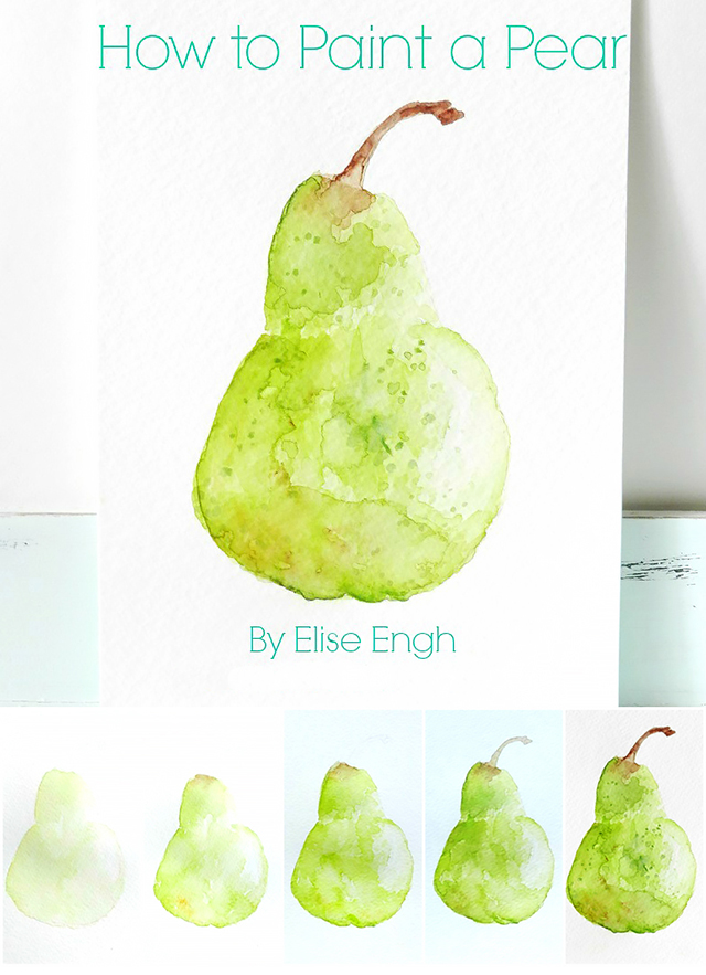 How to Paint a Pear Still Life: beginner watercolor tutorial