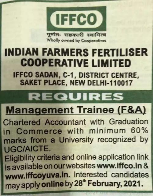 IFFCO Management Trainee Finance Accounts Recruitment 2021