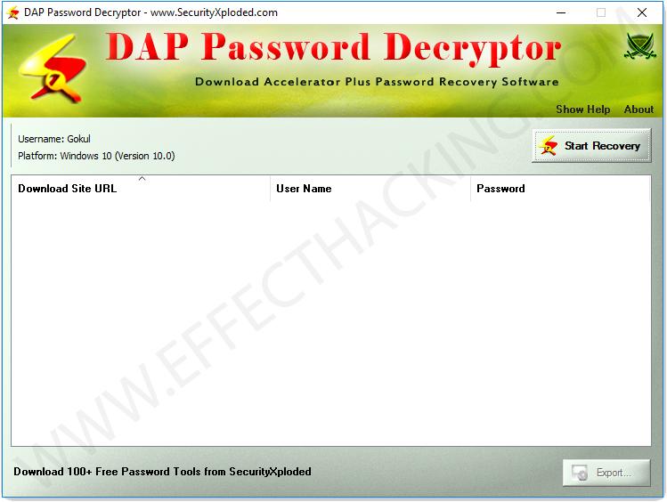 DAP Password Decryptor Home Window