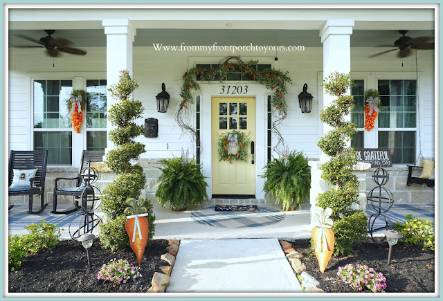 Cottage- Farmhouse- Easter- Front -Porch Decor-Large-Ferns-Yellow-Front-Door-From My Front Porch To Yours