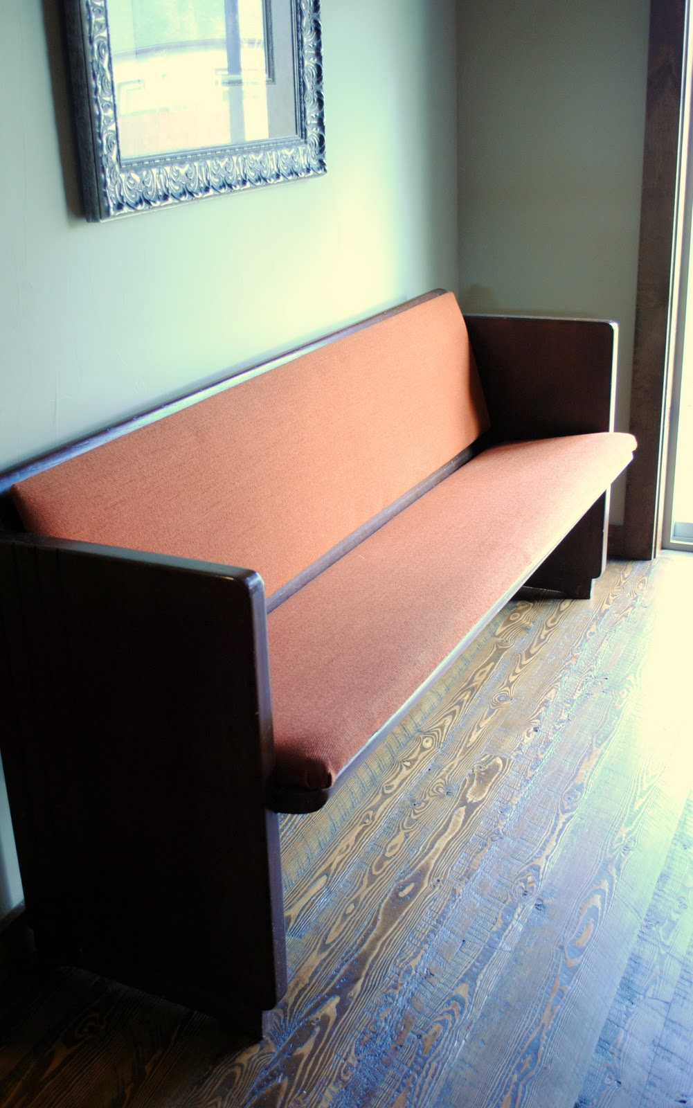 How To Reupholster >> Spunky Junky: Reupholstering the church pew...