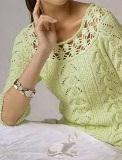 Пуловер с круглой кокеткой спицами и крючком