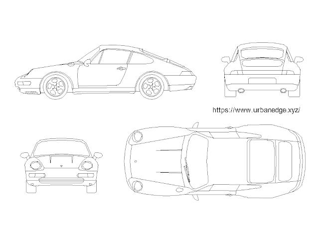 Car cad block download - Porsche Carrera 1997 Model