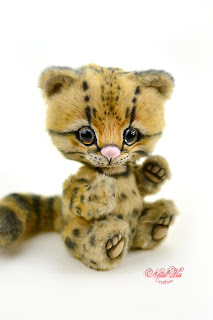 Artist teddy kitten, ooak cat, handmade kitten, NatalKa Creations, teddies with charm, Teddy Katze, Ocelot, Ozelot, Teddy Kater, white kitten