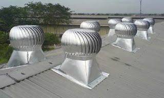 Turbin Ventilator Pada Atap Bangunan Pabrik