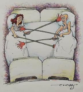 Dibujo de matrimonio tocándose con palos en la cama