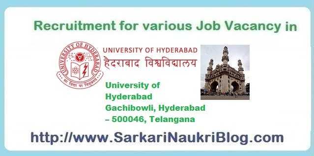 Naukri Vacancy Recruitment in University of Hyderabad