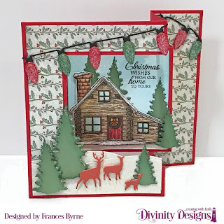 Stamp/Die Duos:  Home For Christmas   Custom Dies: Tri-Fold Card With Layers, Christmas Lights, Trees & Deer;, Curvy Slopes  Paper Collection: Christmas 2017, Christmas 2013