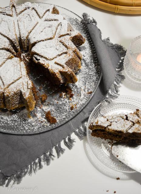 kastehelmi iittala suklainen kahvikakku kuivakakku lumihiutale vuoka