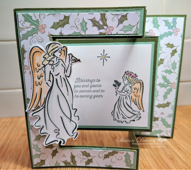 rhapsody in craft, angels of peace, whimsy & wonder specialty DSP, fancy fold, tri-fold card, #heartofchristmas2021, stampin blends, July-Dec Mini Catalogue 2021, Stampin' Up