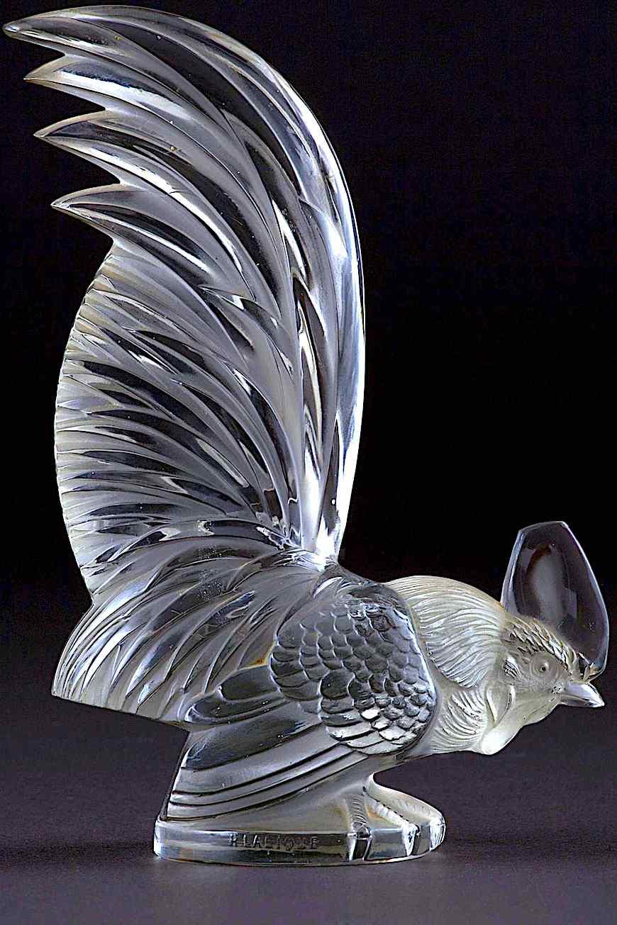 a Lalique glass car hood ornament 1928, a rooster mascot, color photograph