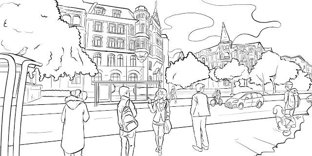 sketch illustration city street
