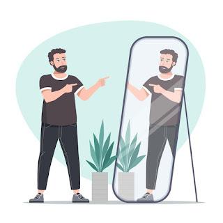 png homem se olhando no espelho e apontando
