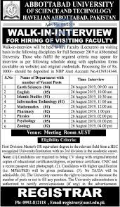 Abbottabad University of Science & Technology Havelian Jobs 2019 for Visiting Faculty (Lecturers) Latest